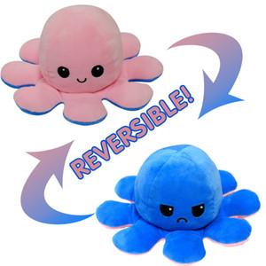 무료 가역 플립 문어 봉제 인형 장난감 소프트 동물 홈 액세서리 귀여운 동물 인형 어린이 선물 아기 도우미 봉제 장난감