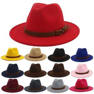 Vintage Winter Women Faux Leather Felt Floppy Cap Belt Warm Bowler Fedora Hat