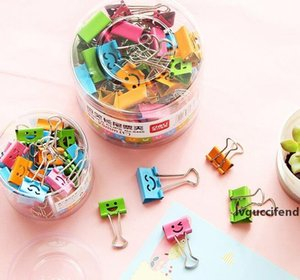Popular Cute Kawaii Smile Metal Binder Clips Sweet Expression Food Bag Clips Note Clips