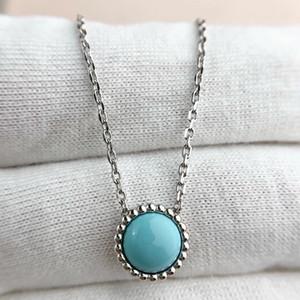 qualità di lusso collana pendente S925 Sterling Silver con la natura della pietra del turchese del braccialetto dell'orecchino per le donne di nozze regalo gioielli libero Sh