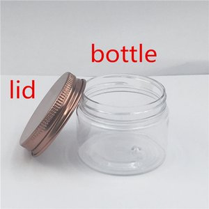 50 pcs lot clear Plastic Small Jar Cream Spice Container Bank Parts Storage Bronze cover 47 mm Opening Bottle Shipping