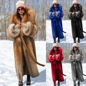 Jane Deiune 2020 Nuove donne invernali Sciolto Faux Fur Patchwork Cappotto di lana Lungo Solido caldo Elegante Outwear Outwear