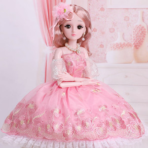 60cm  45cm beautiful princess doll with dress clothes 1 3 BJD doll 20 joint beautiful golden princess hair new gift for girl Y0112