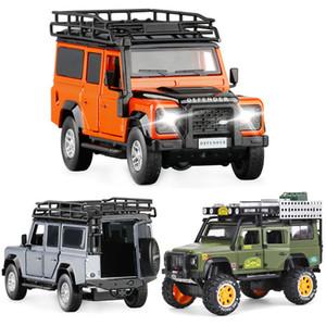 SUV 01:32 01:28 kalıp Kara-Rover Alaşım DEFENDER arabalar modeli Ses ve Işık Geri Çocuk Oyuncak Toplama Ücretsiz Kargo dökme