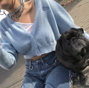 Liv sweater Angora rabbit blue botton front cropped knitted cardigan crop sweater chest embroidery logo Drop Shipping