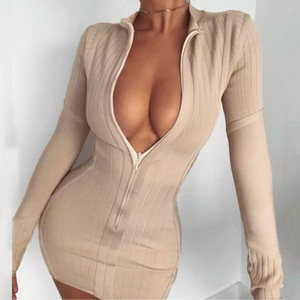 Automne Nouvelle Femmes Mode Sexy Abricot À Manches Longues Collier Debout Collier Front Zipper Dress Robe Sexy Party Robe