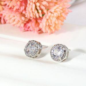 كريستال أقراط الزفاف للنساء البوهيمي جميلة جولة الماس القرط الكامل تشيكوسلوفاكيا الزركون السيدات الفتيات النساء المجوهرات 47 m2