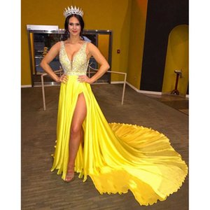 Yellow A Line Prom Dress 2020 Long Plunging V Neck Sleeveless Sweep Train High Side Split Open Back Party Evening Gowns CP814