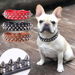 Adjustable Leather Pet Dog Collar Neck Strap Supplies PU Leather Punk Rivet Spiked Dog Collar Pet Collars for Small Dog Cat