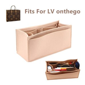 Fits for onthego Felt Cloth Insert Bag Organizer Makeup Handbag shaper on the go Organizer Portable Cosmetic Bags 210204