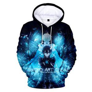 3D Print Sword Art Online SAO Kirito Kirigaya Kazuto Cosplay Costumes Long Sleeve Pullover Hooded Jacket Men Hoodies Sweatshirts