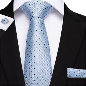 하이 타이 라이트 블루 스트라이프 남성 남성 웨딩 파티 비즈니스 넥타이 남성 세트에 넥타이 손수건 커프스 세트 실크 넥 타이