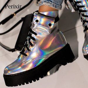 Perixir Lace-up Ankle Biker Boot in Silver Leather Flat Ankle Rubber Boots with Cargo Pocket Winter Platform Boots Women 201020