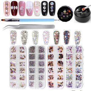 BIUTEE 4Box 3D Nail art strass kit 48 styles ronds cristal à ongles multi-formes strass avec stylo de colle pour ongles diamants