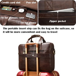 WESTAL men's leather bag men's briefcase office bags for men bag man's genuine leather laptop bags male tote briefcase handbag 200930
