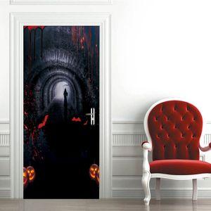 Horror Atmosphere Layout Door Sticker for Halloween Festival Decoration Underground Tunnel Stickers de Porte Mural Bedroom Decor