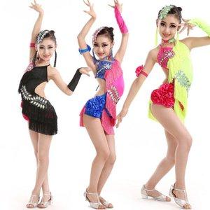 Enfants Ballroom Concurrence Latin Dancing Robe Costumes Filles Paiche Salsa Dance Port Costumes Enfants Waltz Dance Outfits Vêtements