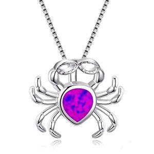 Ópalo collar de gota del agua de imitación Forma 925 collar de plata esterlina Lleno El cangrejo lindo collar colgante
