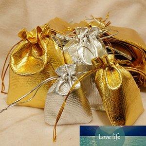 10pcs Gold Silver organza organza coulisse gioielli regalo sacchetto di regalo, sacchetti di festa del partito Sacchetti Capodanno Natale / regalo di nozze 3Sizes