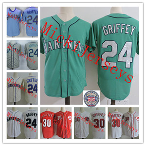 Mens stitched #24 Ken Griffey Retirement Day Patch jersey white Green #30 Ken Griffey 2016 HOF Jersey S-3XL