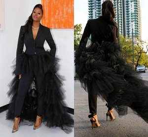 Black Pant Suist Women Party Formal Evening Dresses with Tiered Ruffles Tulle Train V Neck Long Sleeves Prom Pants Suit Vestidos AL8345