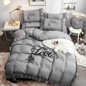 4pcs Korean Style Bed Set Duvet Cover Pillowcase Flat Bed Sheet Skirt Alphabet Design Ruffles Space Grey Queen Soft Home