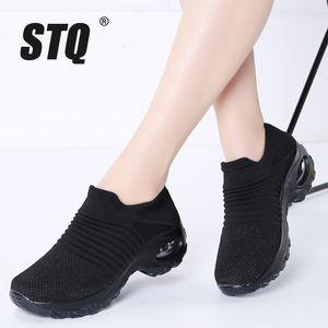 STQ Outono Flats Sapatilhas plataforma para Mulheres Creepers malha Sock de tênis descoberta sapatos de caminhada 1839 201105