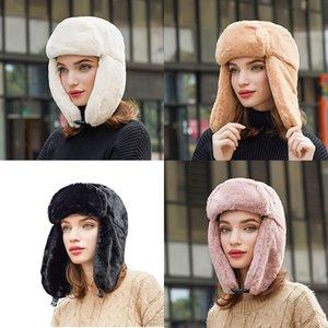 Luxury-Women Fashion Winter Outdoor Ski Earmuffs Lei Feng Cap Hat Ear-flapped Faux Fur Thicken Windproof Warm