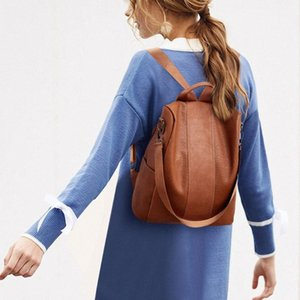 Soft Fashion Camping PU Leather Tote Lady Casual Women Backpack Anti Theft Zipper Travel Stylish Schoolbag GiSK#