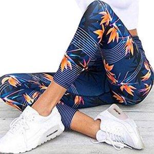 Yoga-Hosen Frauen Fitness Sport Leggings Stripe Printing Elastic Gymnastik-Trainings-Strumpfhosen S-XL Laufhose Plus Size