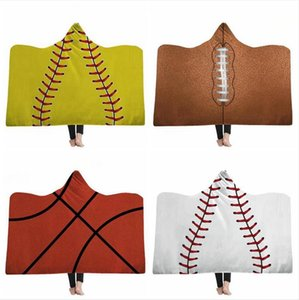 Softball Blankets Adult Wearable Hooded Blanket Sporty Warm Blankets Baseball Softball Winter Sofa Bedding Cover Sea Shipping DDA715