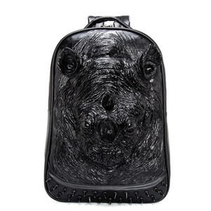 Men Laptop Studded Rivet Gothic 3D Backpack Halloween Leather Teenager Travel Animal Rock Punk School Bag Women Dfdsl