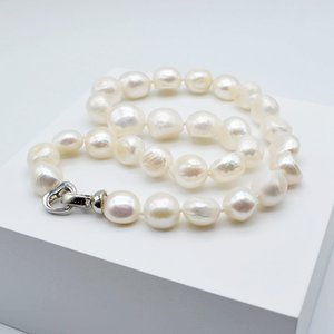 Large particle baroque pearl necklace, white natural pearl, irregular shape, diameter 12-13mm, loving lady pearl necklace