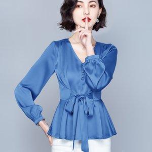 Bow Ruffle Shirt Long Sleeve V-neck OL Women's Blouse Boutique Spring Autumn Shirt Fashion Elegant Ladies Shirt S M L XL 2XL 3XL 4XL