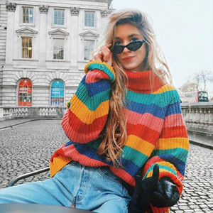 Turtleneck Rainbow Sweater Winter Tops for Women Long Sleeve Knitted Christmas Jumper Oversized Sweater Pullover Female