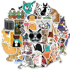 50 Pcs Lot Wholesale Lovely Cartoon Cute Cat Stickers For Kids Toys Waterproof Sticker For Notebook Skateboard Laptop Luggage Car Decals