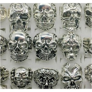 Wholesale Lots Top 50pcs Vintage Skull Carved Biker Men's Silver Plated Rings Jew wmtnKg luckyhat