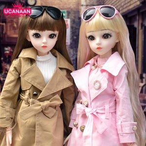 Ucanaan bjd boneca 60 cm 1/3 moda meninas sd bonecas 18 bola unitted boneca com roupas roupas set sapatos peruca maquiagem crianças brinquedos y1230