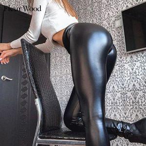 Fleur Wood PU Leggings Fashion High Tail Skinny Elastic Jeggings Plus Tamaño Sexy Broek Mujeres mentiras y Leggins Matt Legions