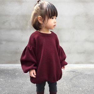 Девушки Твердые Вершины Цвет Puff рукава Осень 2020 Дети Бутик одежды 1-5T Маленькие девочки Обычная платья Стильные Дети Одежда