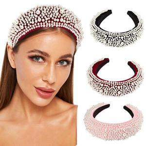 Accesorios Nueva invierno acolchada Cinta de cabeza del aro del Rhinestone de la perla de la manera del pelo para las mujeres Esponja tocado Hairbands