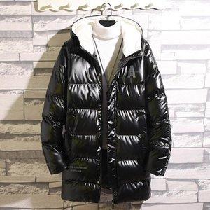 Зимние мужские куртки с капюшоном для мальчиков с капюшоном зимние куртки черные белые пальто блестящие мужчины средней длины хлопка мягкое пальто