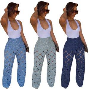 Felyn 2020 Ins Internet Celebrity famosi jeans foro quadrato Estate diritti casuali Denim TrousersS3