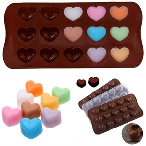 2021 Valentine's Day 15 Hole Heart Shaped Cake Chocolate Silicone Mold Mini DIY Kitchen Tools Weddings Party Handmade Candy Molds G11303