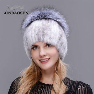 Jinbaosen Style Style Winter Female Mink Plus Fox Stitching Liner de punto Fur Ski Sombrero Envío Gratis LJ201020