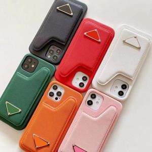 Cas de téléphone de poche de la carte de mode pour iPhone 12ProMax IPHON12PRO 12Mini 12 11Prodrax 11Pro 11Pro Iphone 11 Cuir avec triangle inversé