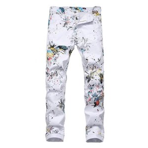 Sokotoo Men's dragon printed white jeans Fashion slim fit colored painted stretch pencil pants