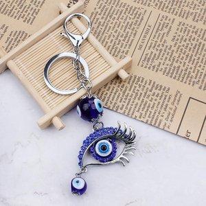 الأزياء الزرقاء الشر العين الزجاج الخرزة المفاتيح العين كيرينغ الكريستال محظوظ محفظة الحلي 1
