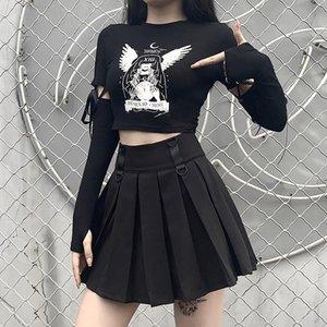 Женщины готические Dark Pirnting Черный Streetwear Sexy Тонкий с длинным рукавом Кружева Лоскутная футболки Grunge Обрезанные Tops Goth Punk