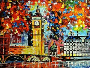 """Leonid Afremov """"Big Ben London 2012"""" Home Decor Handpainted &HD Print Oil Painting On Canvas Wall Art Canvas Pictures 201007"""